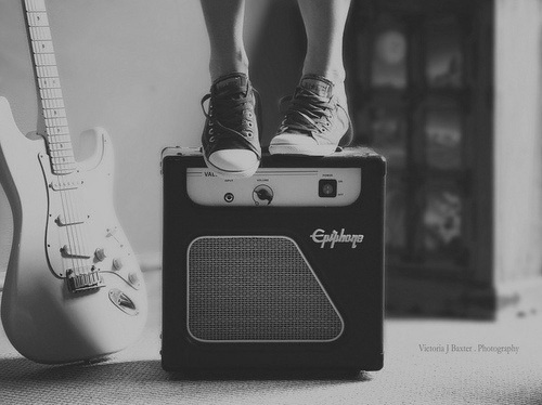all star, b&w, black, black and white, cool, cute, free, girl, guitar, music, p&b, pretty, quotes, white, wild, young
