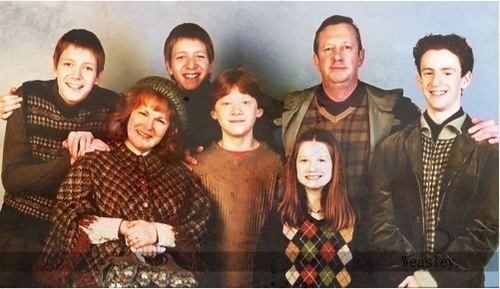 all togerther, cute, family, fred and george, ginny weasly
