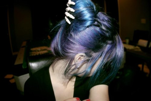 alone, alternative, blue, blue hair, colored hair