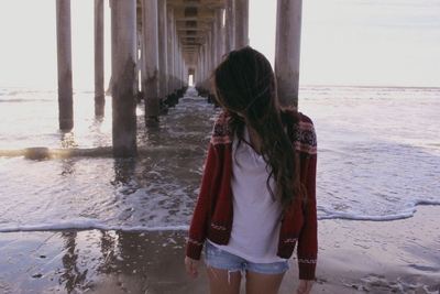alone, beach, girl, sad
