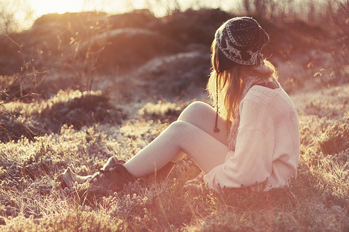 alone, beautiful, girl, sun