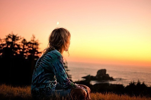 alone, beautiful, girl, sunset