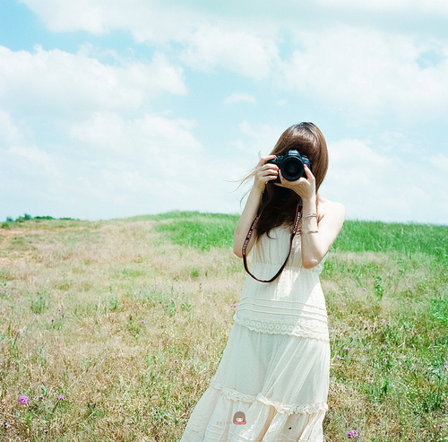 alone, camera, dress, girl, sky, white