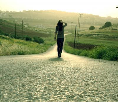 alone, countryside, girl, road, sun
