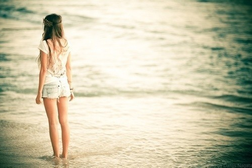 alone, cute, girl, ocean
