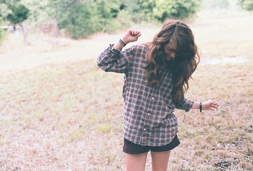 alone, girl, hair, nature, style