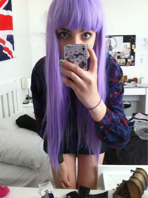 alternative, amazing, cute, girl, hair, iphone, thigh gap, violet hair