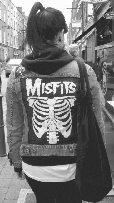 alternative, b&w, band, band logo, black and white, clothing, jacket, logo, misfits, skeleton