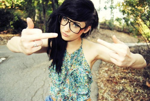 alternative, beautiful, black, black hair, cute, dark hair, dye, dyed hair, eyes, floral, floral top, fuck, girl, glasses, gorgeous, hair, hairstyle, top
