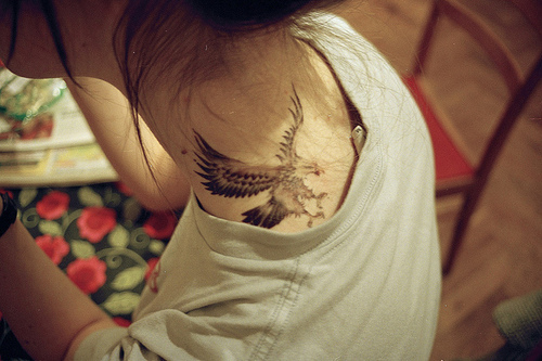 alternative, bird, cute, eagle, girl, hawk, photograpy, tatto, tattoo