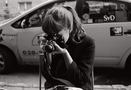 alternative, black and white, brunette, camera, cute