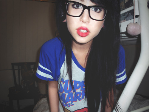 alternative, black hair, girl, glasses, hair