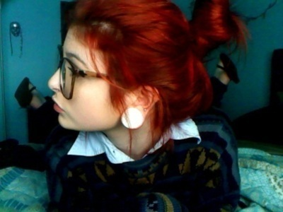 alternative, girl, glasses, hair red, hipster, plugs, reamer, scene