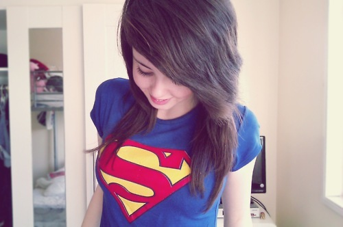 alternative, girl, hair, superman, superman shirt