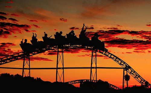 amazing, amusement park, beautiful, clouds, friends, fun, hands, orange, red, rollercoaster, scream, sky, summer, sunset