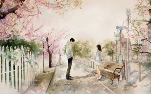amazing, anime, art, bench, blossom
