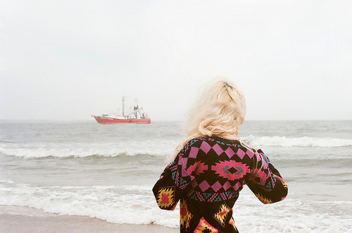 amazing, art, beautiful, blonde, boy, drawing, girl, hipster, lol, love, miss, ocean, painting, pretty, quote, sea, ship, text, waves, words