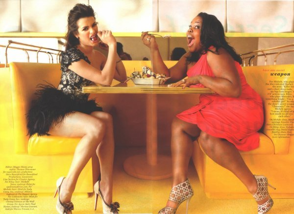 amber riley, couple, cute, girls, glee, glee cast, lea michele