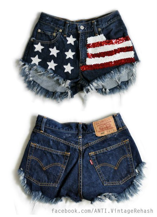 american, cut, denim, festival, flag