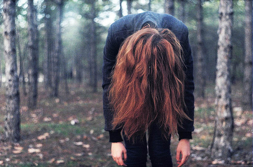 analog, back, beautiful, forest, girl