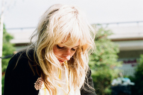analog, beautiful, blond, flower, freckles