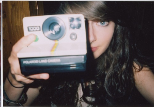 analog, beautiful, camera, girl, grain, hipster, indie, mirror, polaroid