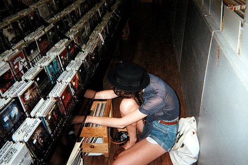 analog, beautiful, cute, fashion, girl, grain, hat, hipster, indie, lps, music, records, shop, vinyl, vinyl records, vinyls