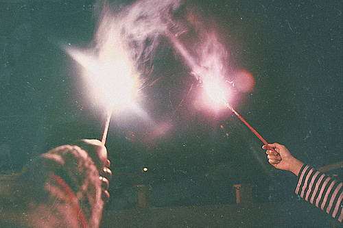 analog, cute, fireworks, friends, grain