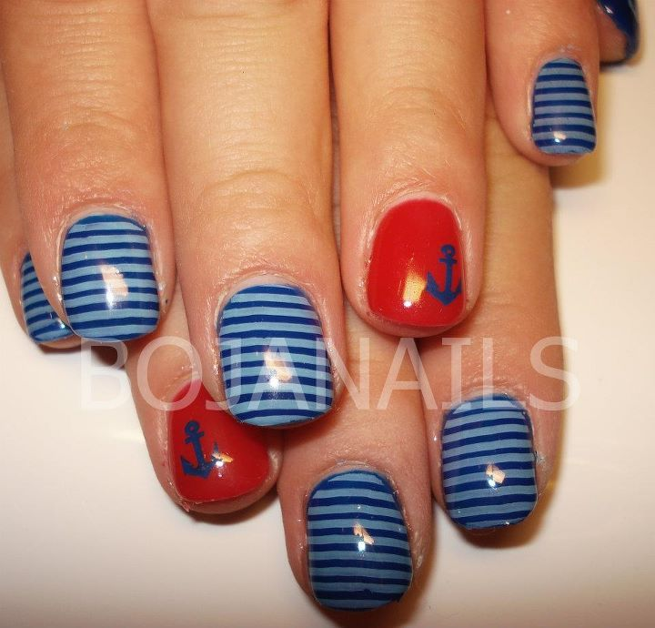 anchor, blue, bojanails, cool, cute