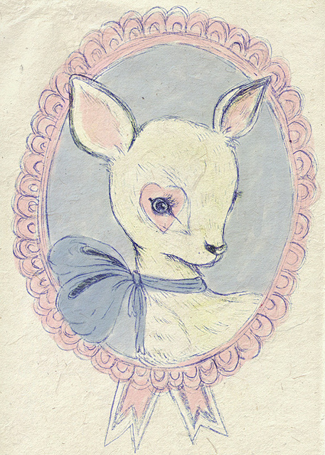 animal, bamby, beautiful, cute, deer, drawing, drawn, heart, painting, pink, white