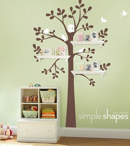 animal, bedroom, cute, green, kids, nature, nice, room, shapes, tree, uljjang, wall