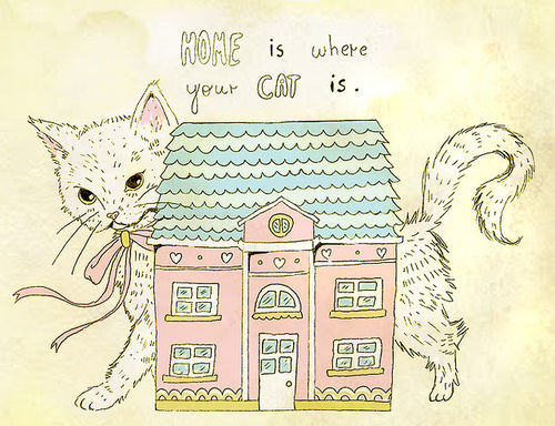 animal, cartoon, cat, cute, drawing, funny, home, kitten, pet
