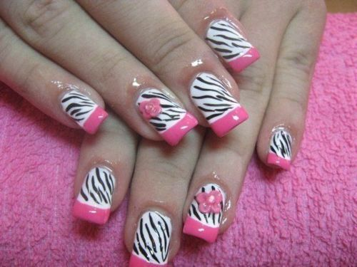 animal print, barbie, cute, false nails, nails, pink