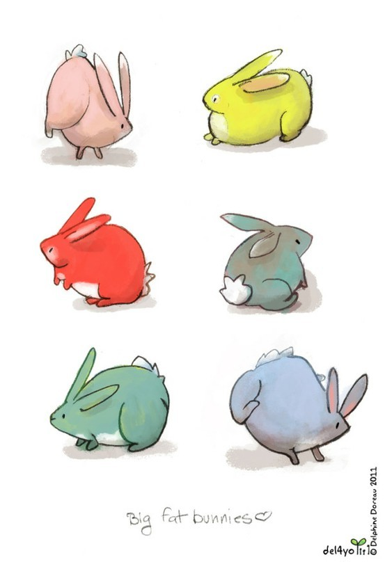 animals, bunnies, colorful, cute, illustration