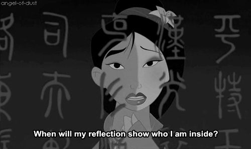 animation, black, black and white, cartoon, dark, girl, letters, lyrics, mirror, mulan, personality, question, reflection, sad, song, text, true, truth