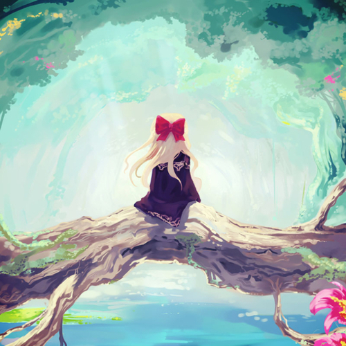 anime, art, blonde, colorful, cute, drawing, forest, girl, nature, painting, pretty, red bow, tree