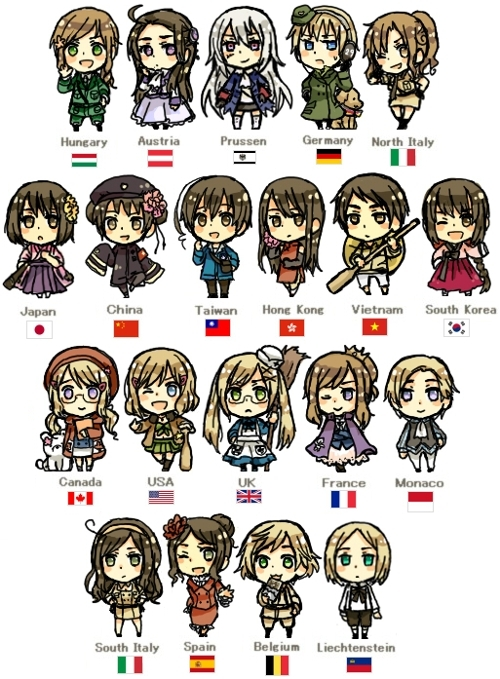 anime, art, canada, chibi, china, countries, crossdressing, girls, hetalia, japan, monaco, south korea, vietnam