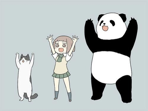 anime, art, cat, cute, girl, hands, happy, panda, random, rawr!, uniform