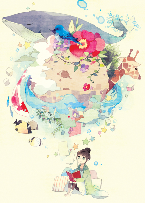 anime, art, colorful, fondo, girl, illustration, inspiring