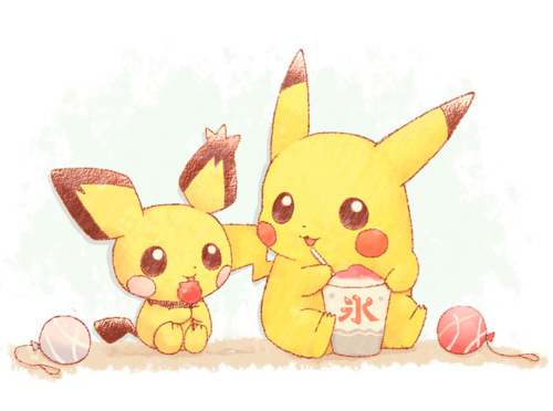 anime, cartoon, cute, pichu, pikachie, pikachu, pokemon, yellow