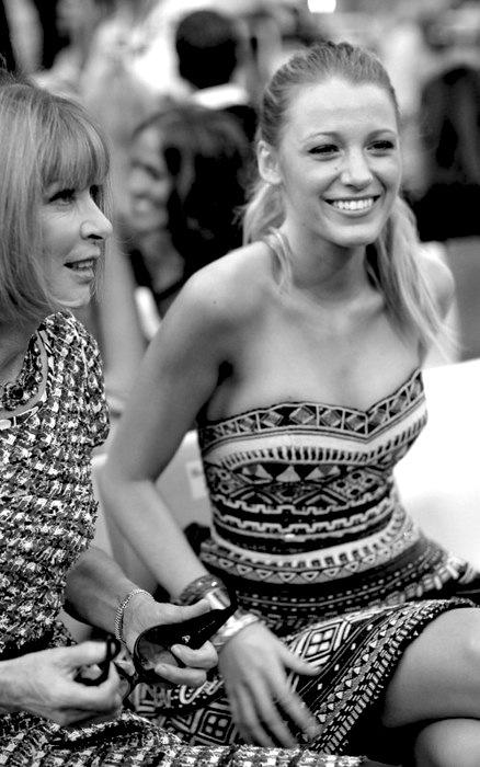 anna wintour, black and white, blake lively, cute, fashion, gossip girl, photography, serena, short dress
