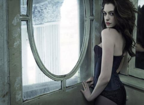 anne hathaway, art, beautiful, black, brunette, cute, face, girl, hair, hot, lingerie, make up, model, photography, pretty, sensual, sexy, window