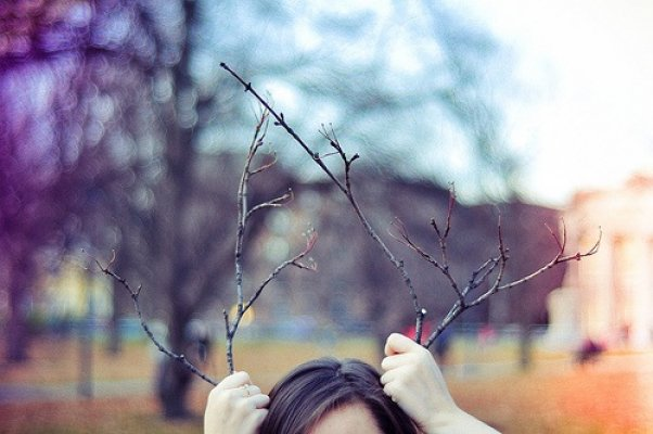 antlers, branches, color, funny, girl