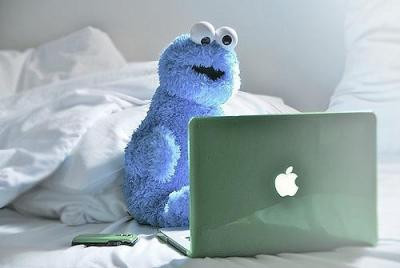 apple, awesome, cookie, cookie monster, cute, laptop