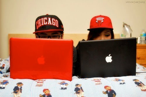 apple, bulls, couple, cute, love, mac, snapback