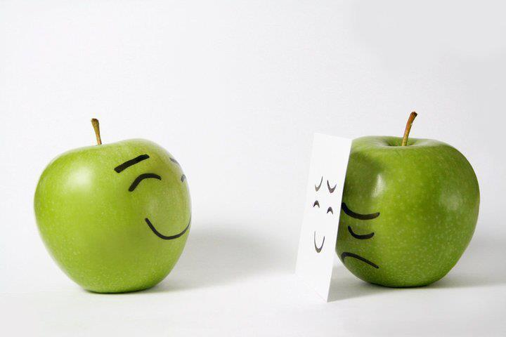 apples, happy, hide, mask, sad