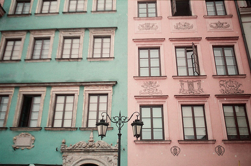 architecture, blue, colored, cute, fun, house, kitten computer, old, pink, pretty, street lamp, windows