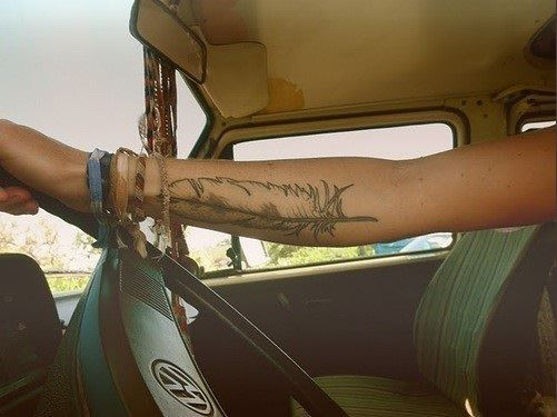 arm, art, beautiful, car, feather, girl, indian, old school, pen, photography, style, tattoo, vintage, volkswagen