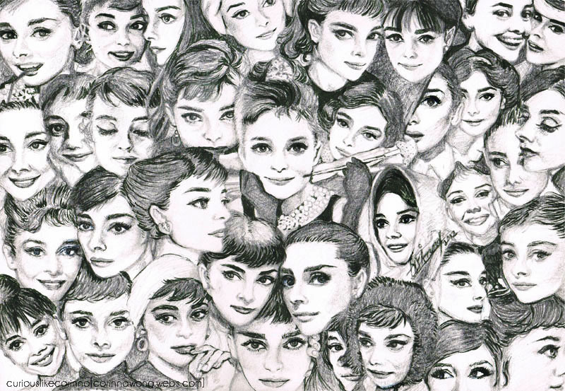 art, audrey hepburn, black and white, pencil, sketch