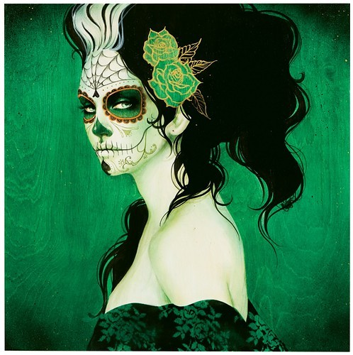 art, awesome, cute, dia de los muertos, eauty, green, lady, skull